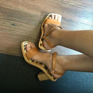 Dolce & Gabbana wood / leather / studded heels